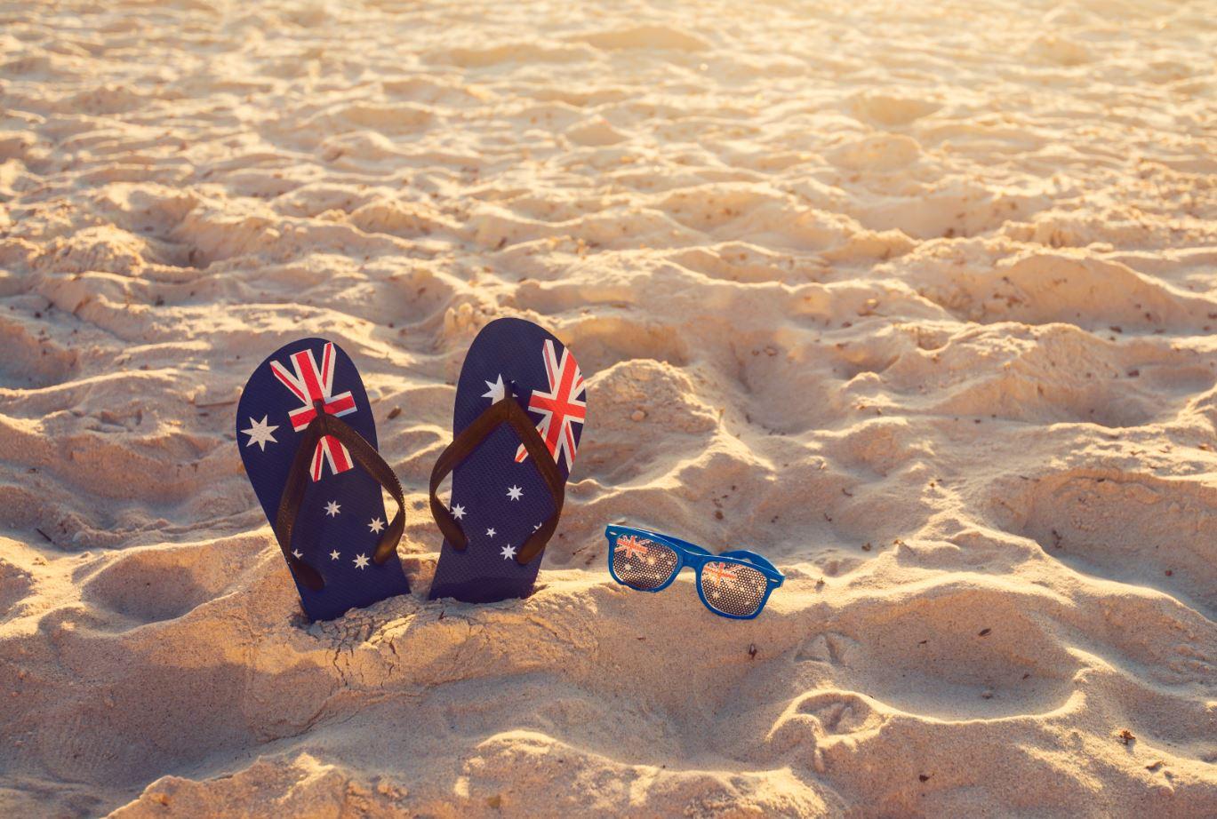 Aussie Thongs on Beach